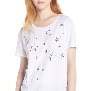 Chaser moon and star graphic white T-shirt size S